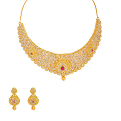 22K Yellow Gold Diamond Necklace & Earrings Set W/ 26.98ct Uncut Diamonds, Rubies & Clustered Flowers on Bib Necklace
