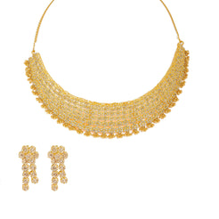22K Yellow Gold Diamond Necklace & Earrings Set W/ 28.04ct Uncut Diamonds, Clustered Flowers & Gold Ball Accents on Bib Necklace