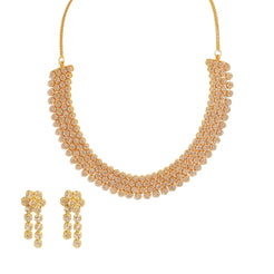 22K Yellow Gold Diamond Necklace & Earrings Set W/ 30.51ct Uncut Diamonds & Clustered Flowers on Choker Necklace