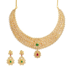 22K Yellow Gold Diamond Necklace & Earrings Set W/ 38.54ct Uncut Diamonds, Rubies & Emeralds on Choker Necklace
