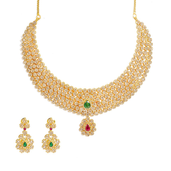 22K Yellow Gold Diamond Necklace & Earrings Set W/ 38.54ct Uncut Diamonds, Rubies & Emeralds on Choker Necklace |  22K Yellow Gold Diamond Necklace & Earrings Set W/ 38.54ct Uncut Diamonds, Rubies & Emer...