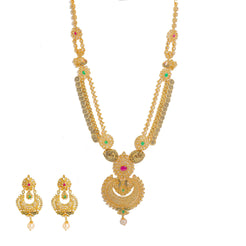 22K Yellow Gold Diamond Necklace & Chandbali Earrings Set W/ 33.95ct Uncut Diamonds, Rubies, Emeralds, Pearls & Laxmi Kasu