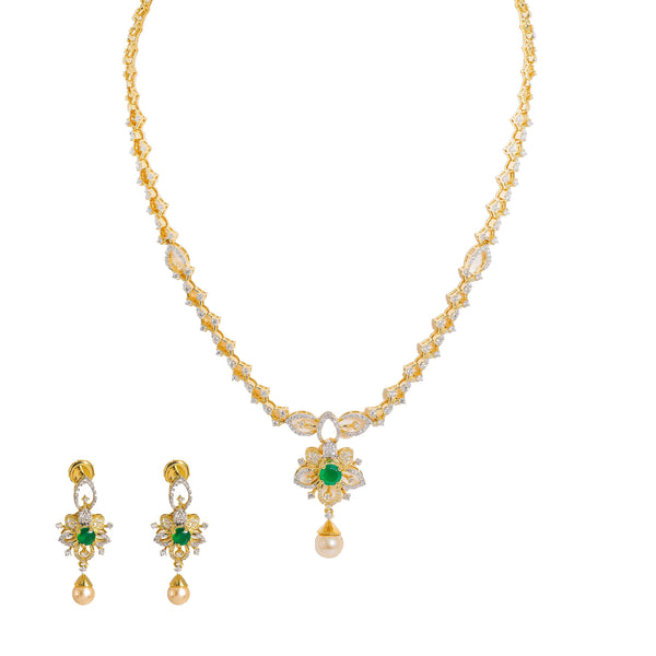 18K  Yellow Gold Diamond Necklace & Earrings Set W/ VVS Diamonds, Emeralds, Pearls & Lotus Flower Pendant |  18K Yellow Gold Diamond Necklace & Earrings Set W/ VVS Diamonds, Emeralds, Pearls & Lotu...