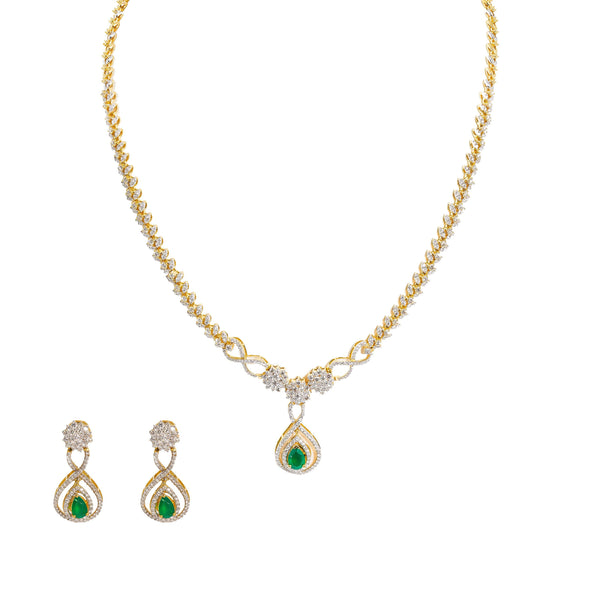 18K  Multi Tone Gold Diamond Necklace & Earrings Set W/ VVS Diamonds, Emeralds, Rubies & Leaf Vine Detail - Virani Jewelers |  18K Multi Tone Gold Diamond Necklace & Earrings Set W/ VVS Diamonds, Emeralds, Rubies & ...