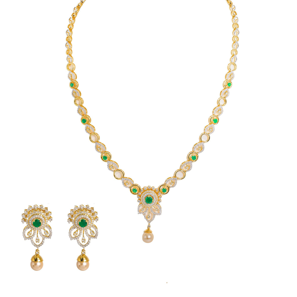 18K  Multi Tone Gold Diamond Necklace and Earrings Set W/ VVS Diamonds, Emeralds, Drop Pearls & Hibiscus Pendants |  18K Multi Tone Gold Diamond Necklace and Earrings Set W/ VVS Diamonds, Emeralds, Drop Pearls &am...