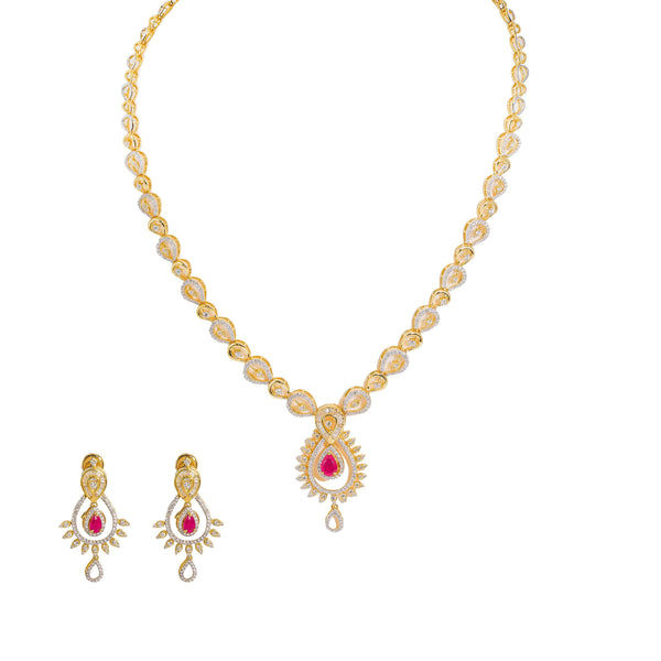 18K  Multi Tone Gold Diamond Necklace & Earrings Set W/ VVS Diamonds, Rubies, Emeralds & Faceted Pear Shape Details |  18K Multi Tone Gold Diamond Necklace & Earrings Set W/ VVS Diamonds, Rubies, Emeralds & ...