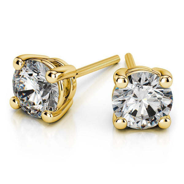 14k White Gold Round Cut Diamond Solitaire Earrings - Virani Jewelers | A beautiful pair of Solitaire Diamond Studs. Total weight of 2.0 ct.