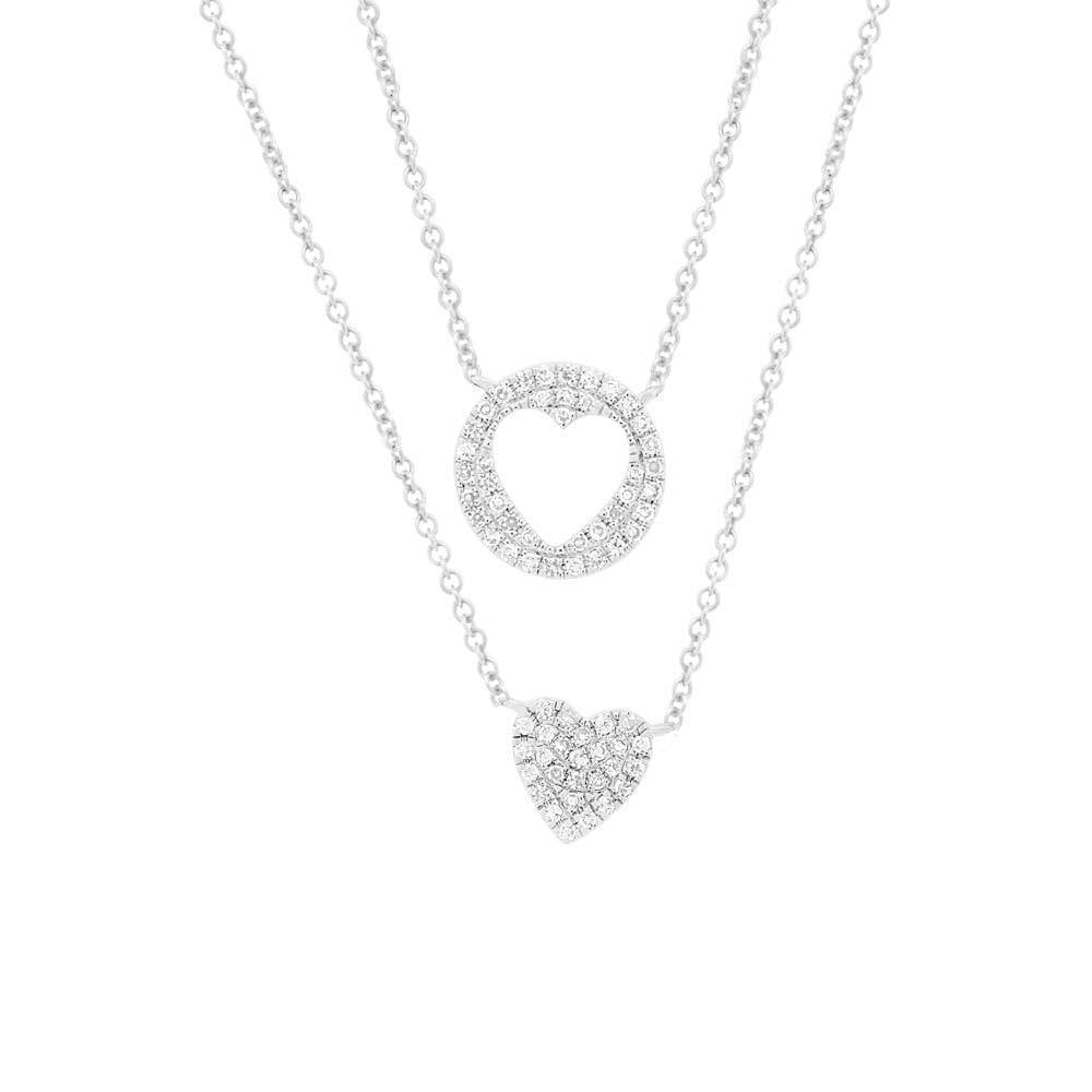 0.16CT 14K White Gold Diamond Pave Heart Necklace | 0.16ct 14k White Gold Diamond Pave Heart Necklace