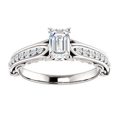 Four Prong Solitaire Channel Set Diamond Engagement Ring