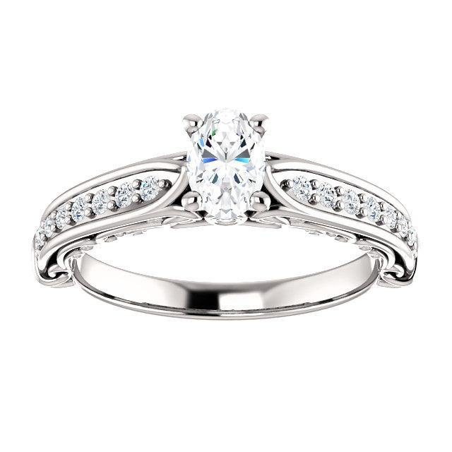 Four Prong Solitaire Channel Set Diamond Engagement Ring |