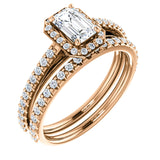 French Pave Diamond Halo Engagement Ring |