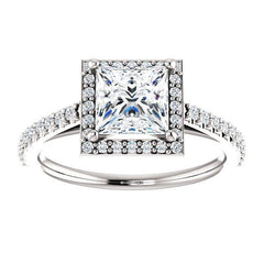 French Pave Diamond Halo Engagement Ring