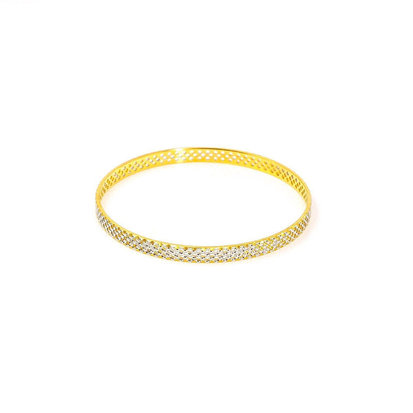 22K White Gold Bangle W/ Fully Spanned Pattern of Small Circle Cutout - Virani Jewelers | 22K White Gold Bangle W/ Fully Spanned Design of Small Circle Cutouts for women. This classic whi...