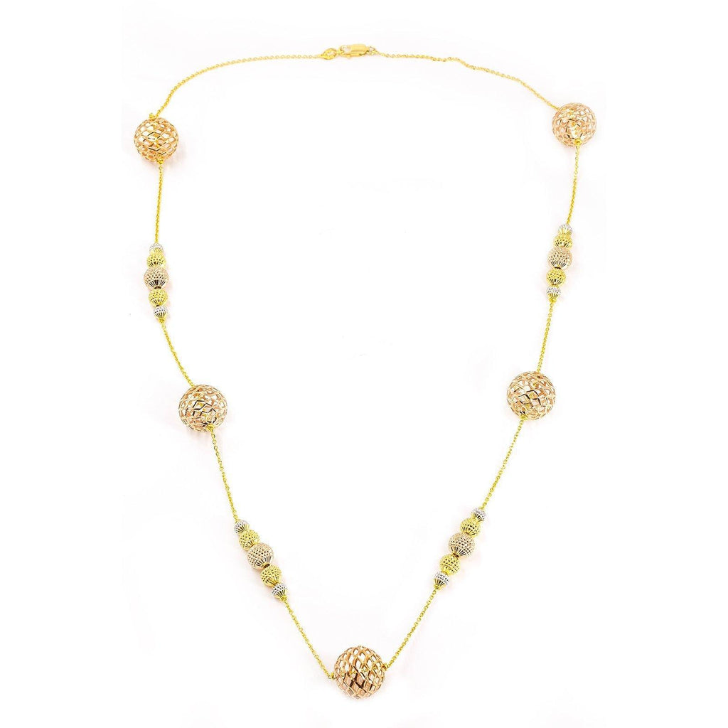 22K Multi Tone Gold Chain W/ Hollow Bauble Accents On Cable Pattern Chain |  22K Multi Tone Gold Chain W/ Hollow Bauble Accents on Cable Pattern Chain for women. This piece ...