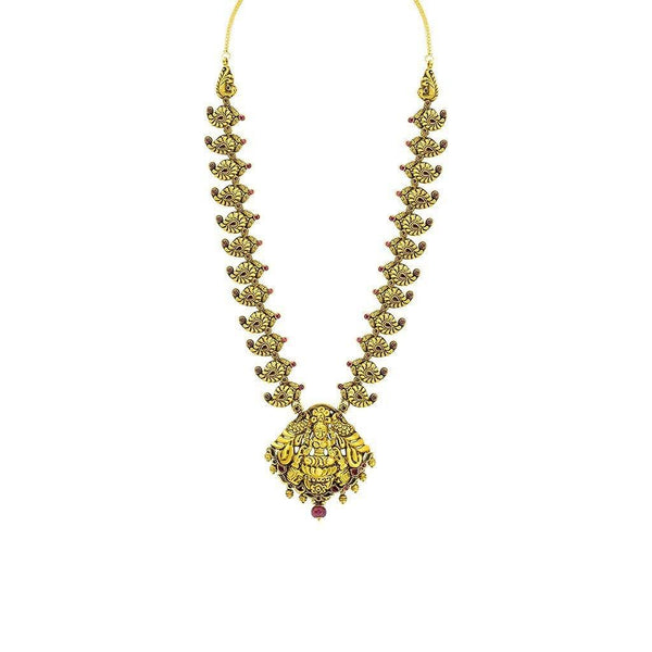 22K Yellow Gold Necklace W/ Ruby, Eyelet Laxmi Pendant & Carved Mango Accents |  22K Yellow Gold Necklace W/ Ruby, Eyelet Laxmi Pendant & Carved Mango Accents for women. Thi...
