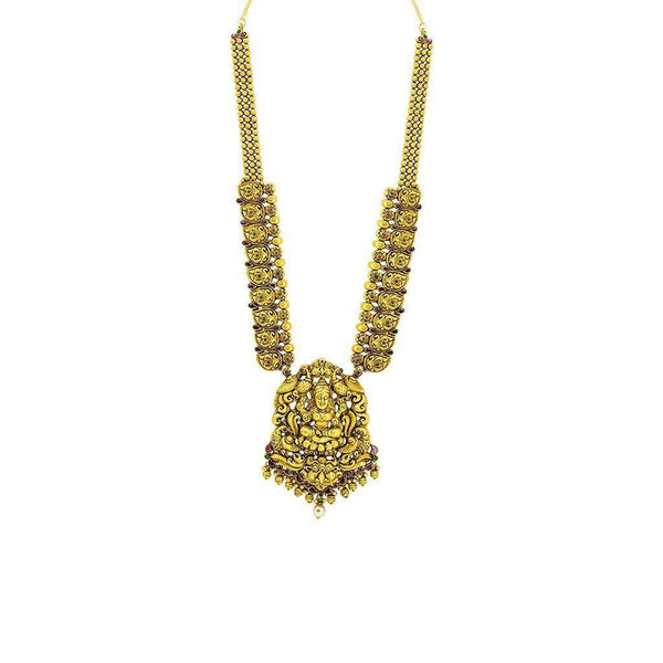 22K Gold Temple Antique Necklace | Necklace Length 32 inches. Necklace minimum width 2 mm. Necklace maximum width 25 mm. Pendant Len...