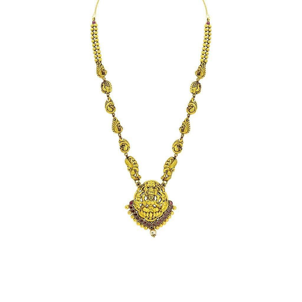 22K Yellow Gold Antique Temple Necklace W/ Rubies, Pearl & Paisley Carved Accent Chain |  22K Yellow Gold Antique Temple Necklace W/ Rubies, Pearl & Paisley Carved Accent Chain for w...