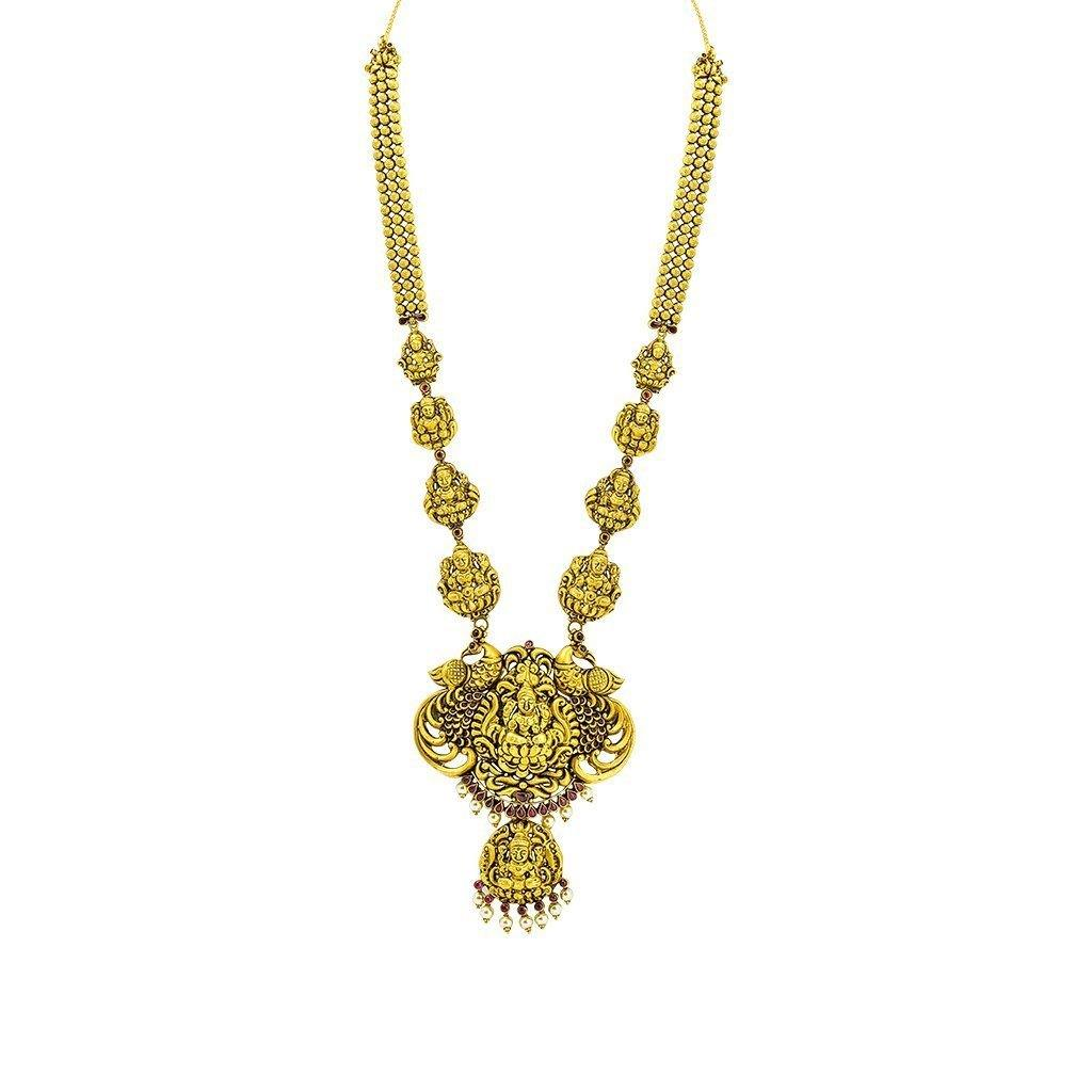 22K Yellow Gold Antique Necklace W/ Ruby & Pearl on Full Laxmi Pendant Design |  22K Yellow Gold Antique Necklace W/ Ruby & Pearl on Full Laxmi Pendant Design for women. Thi...