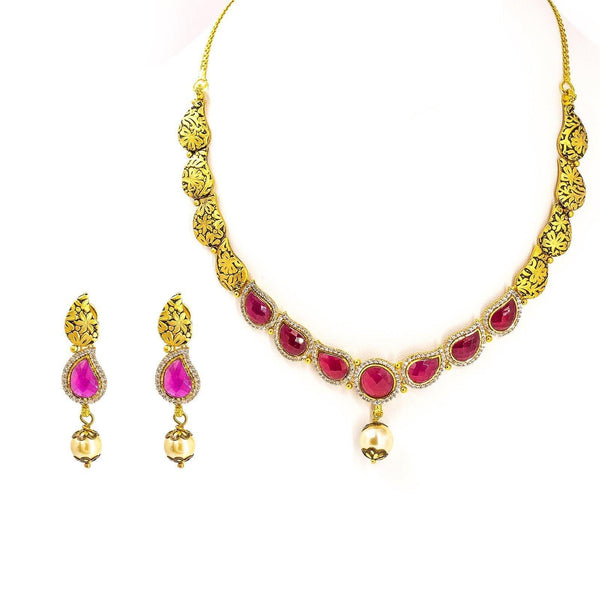 22K Yellow Gold Antique Necklace & Earrings Set W/ Mango Rubies, CZ & Drop Pearl | 22K Yellow Gold Antique Necklace & Earrings Set W/ Mango Rubies, CZ & Drop Pearl for wome...