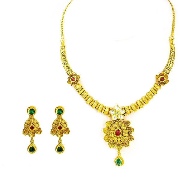22K Yellow Antique Gold Necklace & Earrings Set W/ Ruby & Emerald Kundan on Lotus Charm |  22K Yellow Antique Gold Set W/ Ruby & Emerald Kundan on Artisan Lotus Charm for women. This ...