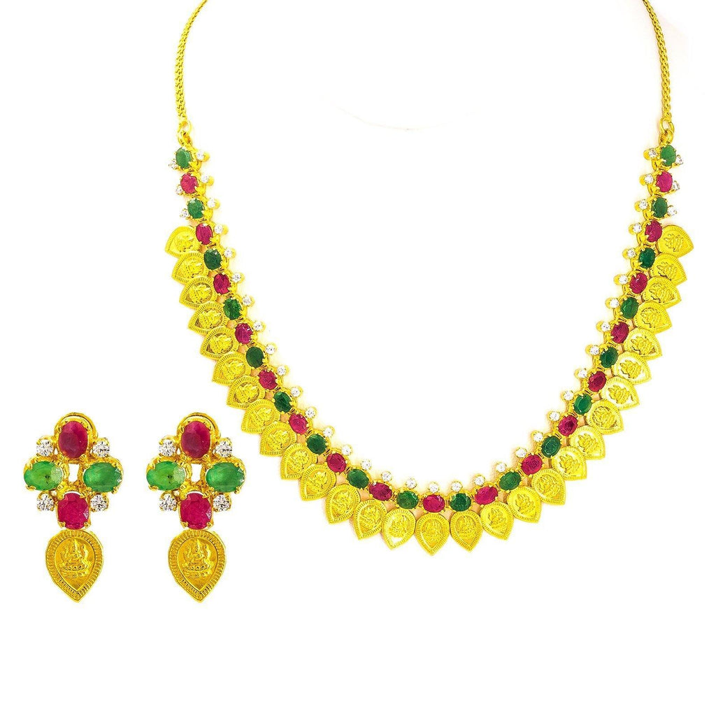 22K Yellow Gold Necklace & Earrings Set W/ Teardrop Laxmi Coins and Ruby, CZ & Emerald Gemstones |  22K Yellow Gold Set W/ Teardrop Laxmi Coins and Ruby, CZ & Emerald Gemstones for women. This...