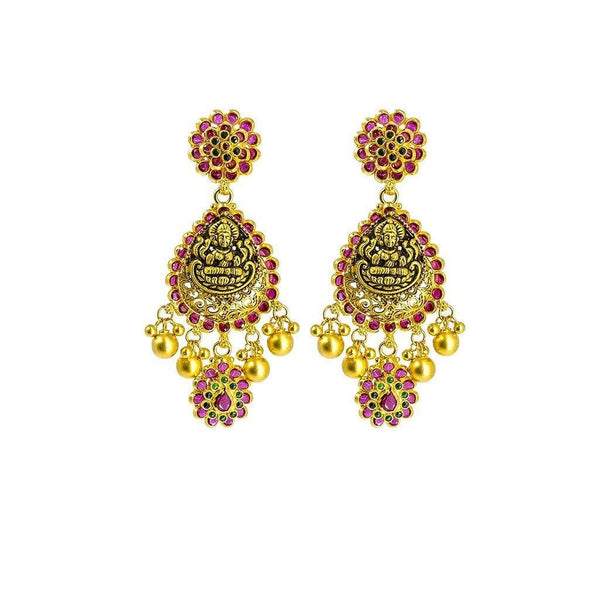 22K Yellow Gold Necklace & Earrings Set W/ Ruby, Emeralds, Pear Shaped Laxmi Pendants & Floral Accents |  22K Yellow Gold Necklace & Earrings Set W/ Ruby, Emeralds, Pear Shaped Laxmi Pendants & ...