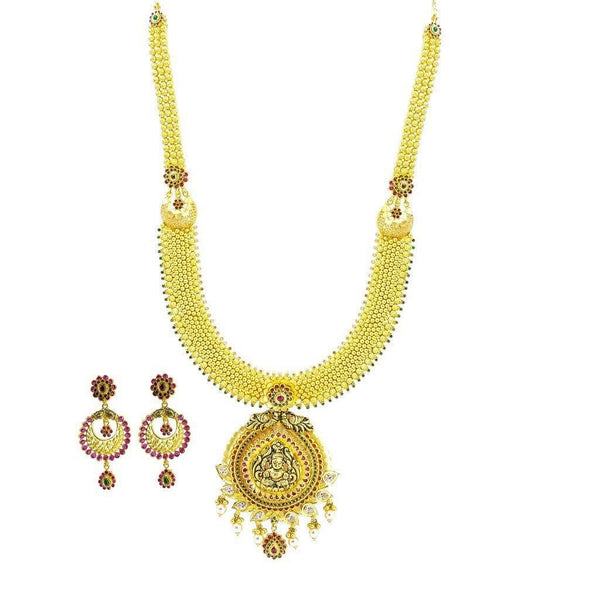 22K Yellow Gold Necklace & Earrings Set W/ CZ, Ruby, Emerald, Pearls & Laxmi Pendant on U-Shaped Beaded Chain |  22K Yellow Gold Necklace & Earrings Set W/ CZ, Ruby, Emerald, Pearls & Laxmi Pendant on ...