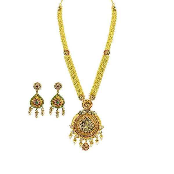 22K Yellow Gold Necklace & Earrings Set W/ Ruby, Emerald, CZ & Pearls on Thick Round Beaded Chain |  22K Yellow Gold Necklace & Earrings Set W/ Ruby, Emerald, CZ & Pearls on Thick Round Bea...