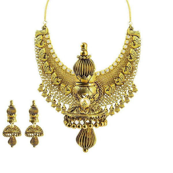 22K Yellow Gold Necklace & Earrings Set W/ CZ & Carved Details on Jhumki Pendant Choker |  22K Yellow Gold Necklace & Earrings Set W/ CZ & Carved Details on Jhumki Pendant Choker ...