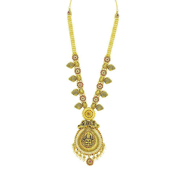 22K Yellow Gold Necklace & Jhumki Earrings Set W/ Pearls, Ruby, Emerald, CZ, Laxmi Pendants & Teardrop Accents |  22K Yellow Gold Necklace & Jhumki Earrings Set W/ Pearls, Ruby, Emerald, CZ, Laxmi Pendants ...