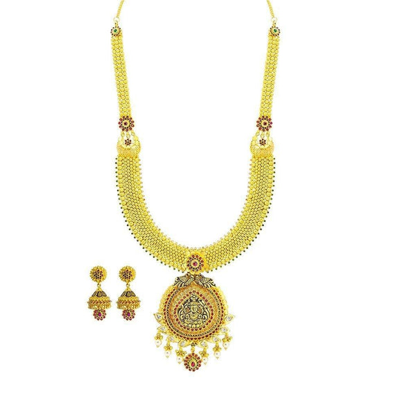 22K Yellow Gold Necklace & Jhumki Earrings Set W/ CZ, Ruby, Emerald, Pearls & Laxmi Pendant on U-Shaped Beaded Chain |  22K Yellow Gold Necklace & Jhumki Earrings Set W/ CZ, Ruby, Emerald, Pearls & Laxmi Pend...