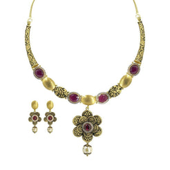22K Yellow Gold Necklace & Earrings Set W/ Ruby, CZ & Hanging Pearl on Engraved Flower Crescent Choker