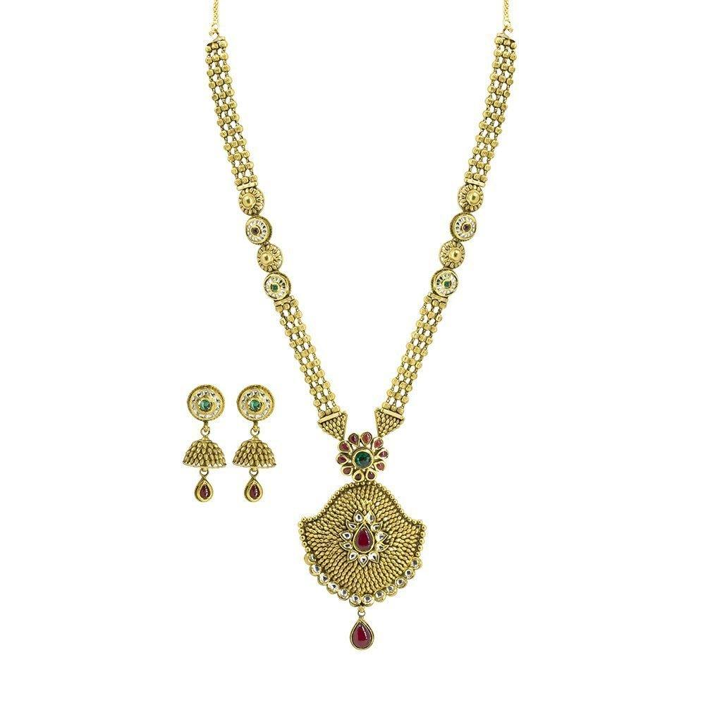 22K Yellow Gold Necklace & Jhumki Earrings Set W/ Kundan & Beaded Three Strand Necklace |  22K Yellow Gold Necklace & Jhumki Earrings Set W/ Kundan & Beaded Three Strand Necklace ...