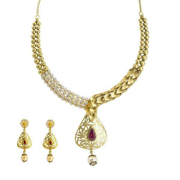 22K Yellow Gold Necklace & Earrings Set W/ Ruby, Pearl & CZ on Detailed Collar & Cutout Pear Pendant |  22K Yellow Gold Necklace & Earrings Set W/ Ruby, Pearl & CZ on Detailed Collar & Cut...