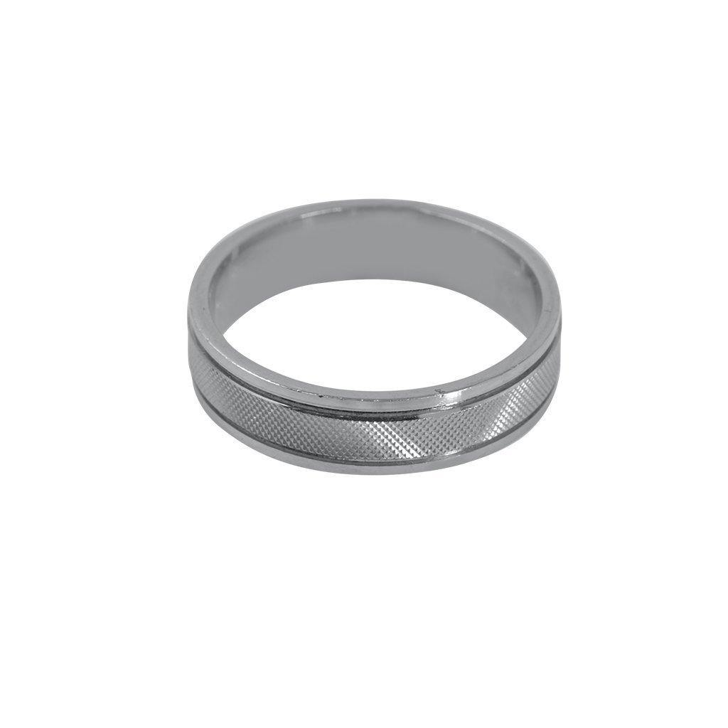 22K White Gold Band W/ Flat Smooth Rims & Textured Center for Men |  22K White Gold Band W/ Flat Smooth Rims & Textured Center for Men. This sleek band is has a ...