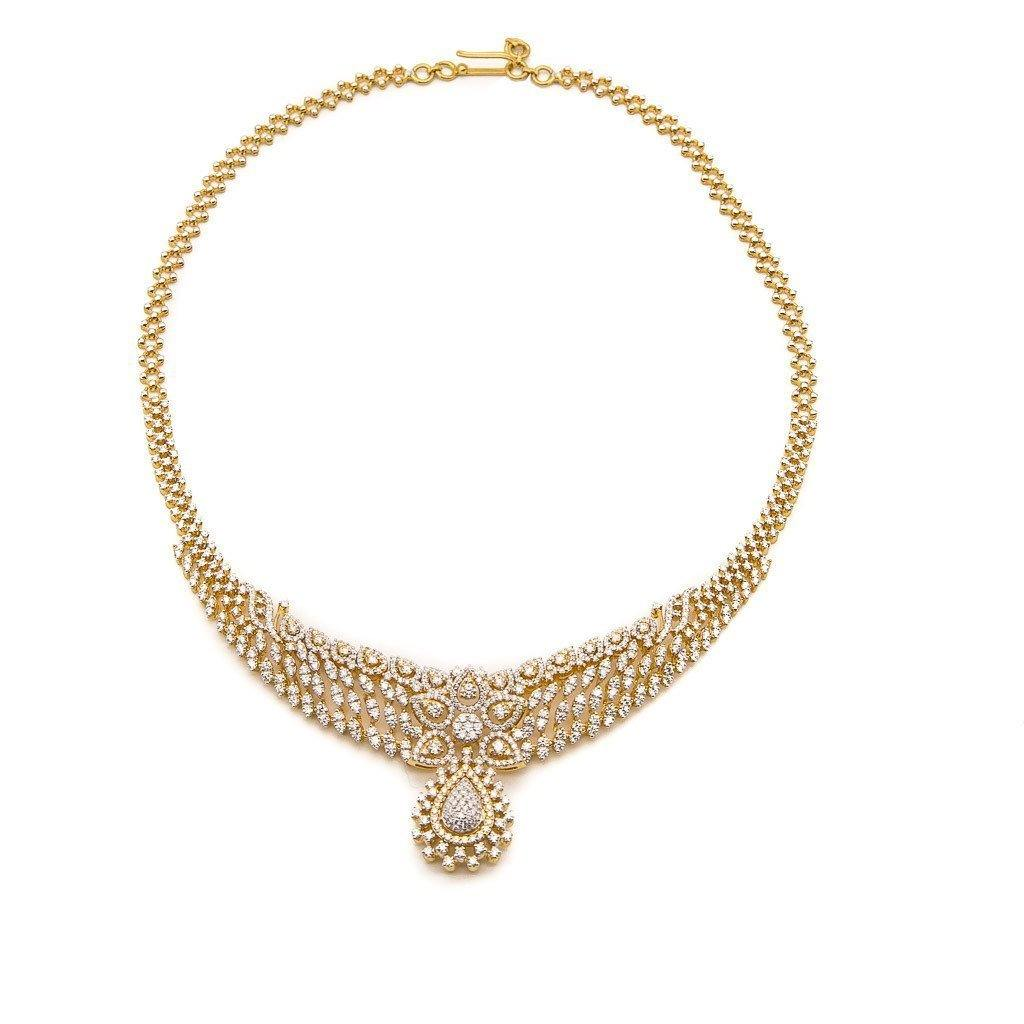 18K Gold Diamond Necklace and Earrings Set | Beautiful Diamond Set