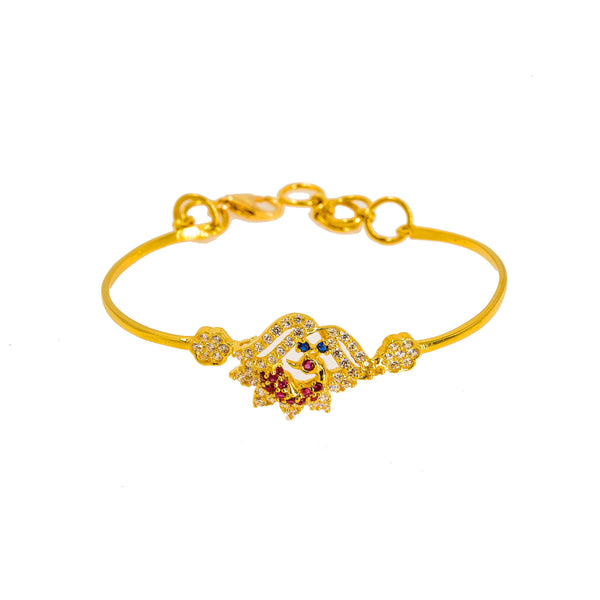22K Yellow Gold Baby Bangle W/ CZ Gems, Ornate Peacock & Small Flower Accents |  22K Yellow Gold Baby Bangle W/ CZ Gems, Ornate Peacock & Small Flower Accents. This beautifu...