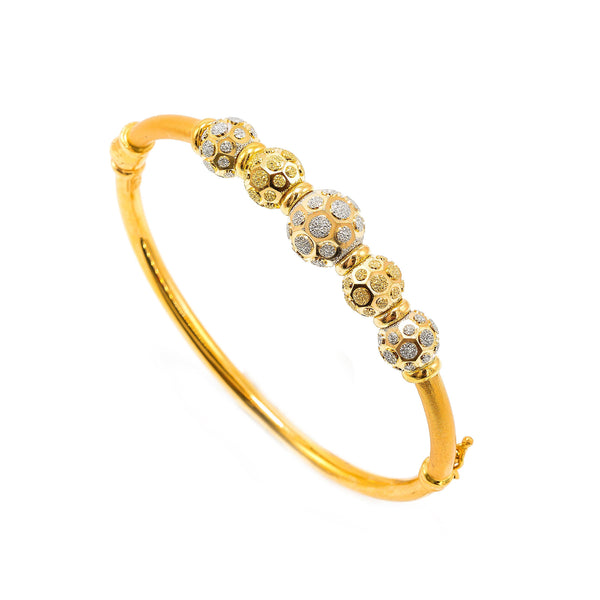 22K Multi Tone Gold Bangle W/ Yellow & White Gold Circular Glass Blast Details on 5 Accent Balls | 22K Multi Tone Gold Bangle W/ Yellow & White Gold Circular Glass Blast Details on 5 Accent Ba...