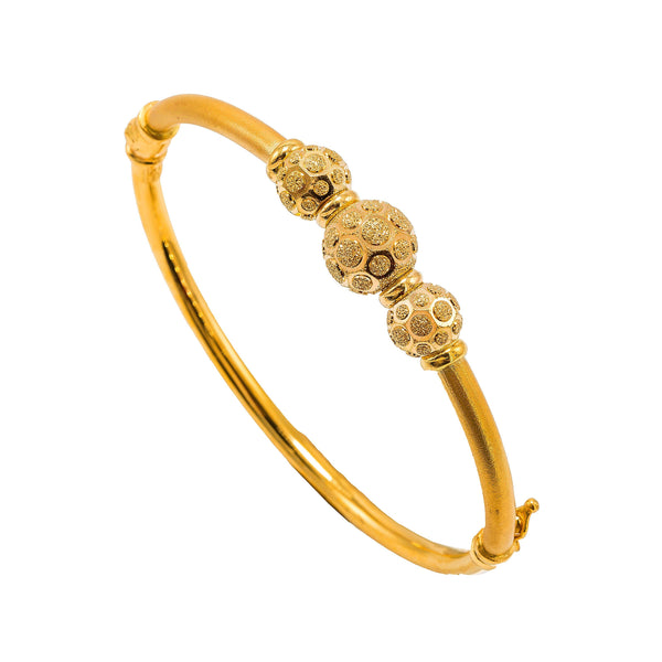 22K Yellow Gold Bangle W/ Circular Glass Blast Details on 3 Accent Balls | 22K Yellow Gold Bangle W/ Circular Glass Blast Details on 3 Accent Balls for women. This elegant ...
