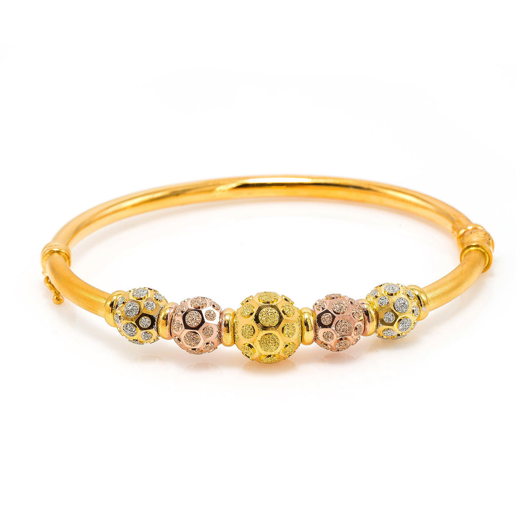 22K Multi Tone Gold Bangle W/ Rose, Yellow & White Gold Circular Glass Blast Details on 5 Accent Balls | 22K Multi Tone Gold Bangle W/ Rose, Yellow & White Gold Circular Glass Blast Details on 5 Acc...