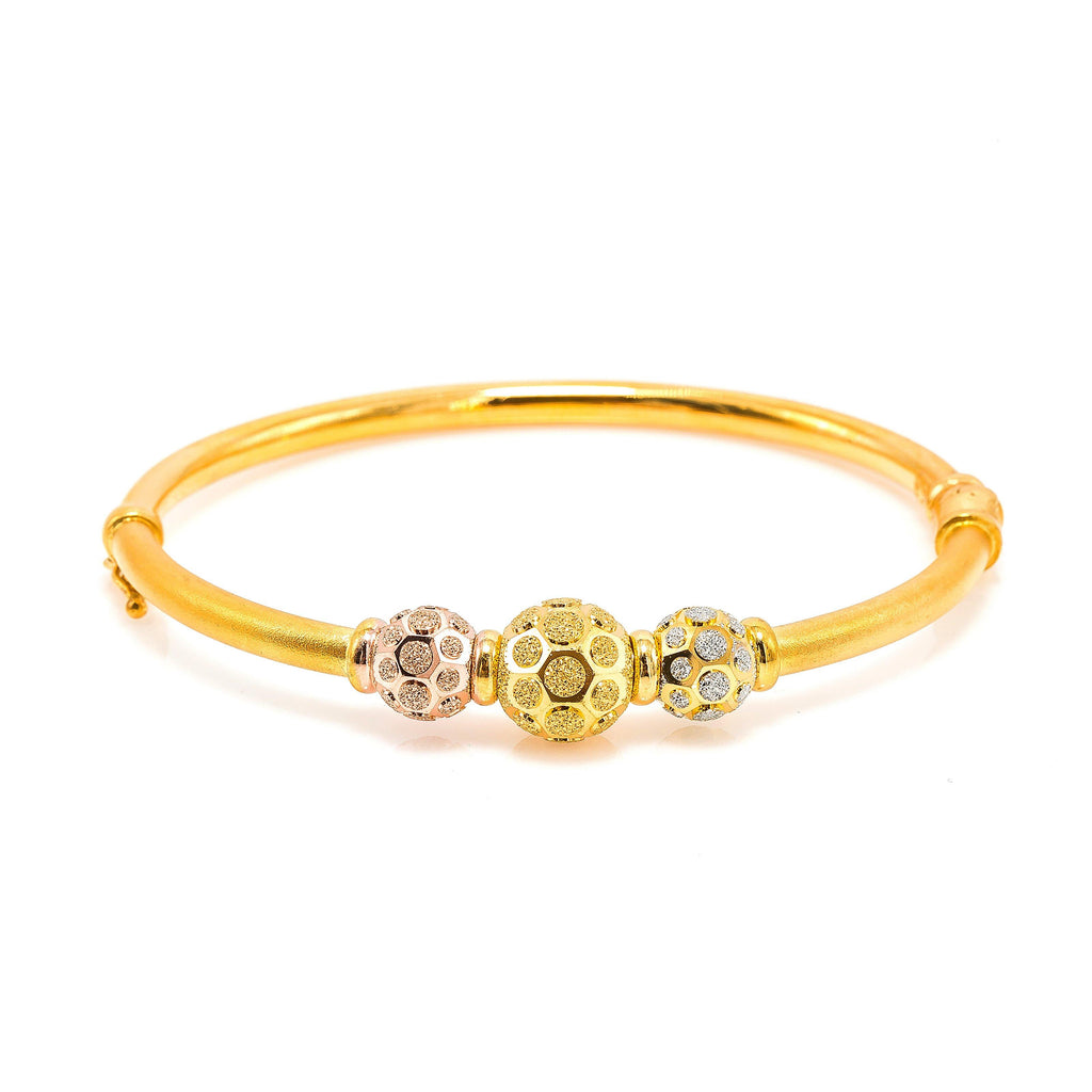 22K Multi Tone Gold Bangle W/ Rose, Yellow & White Gold Circular Glass Blast Details on 3 Accent Balls, 16.5 grams | 22K Multi Tone Gold Bangle W/ Rose, Yellow & White Gold Circular Glass Blast Details on 3 Acc...