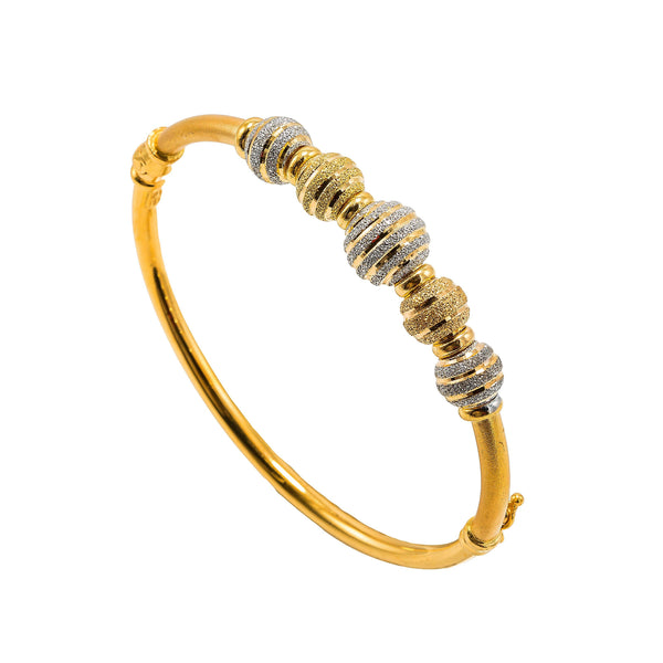 22K Multi Tone Gold Bangle W/ Yellow & White Gold Glass Blast Details on 5 Accent Balls |  22K Multi Tone Gold Bangle W/ Yellow & White Gold Glass Blast Details on 5 Accent Balls for ...