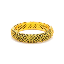 22K Yellow Gold Bangle W/ Faceted Crossover Pattern & Antique Finish