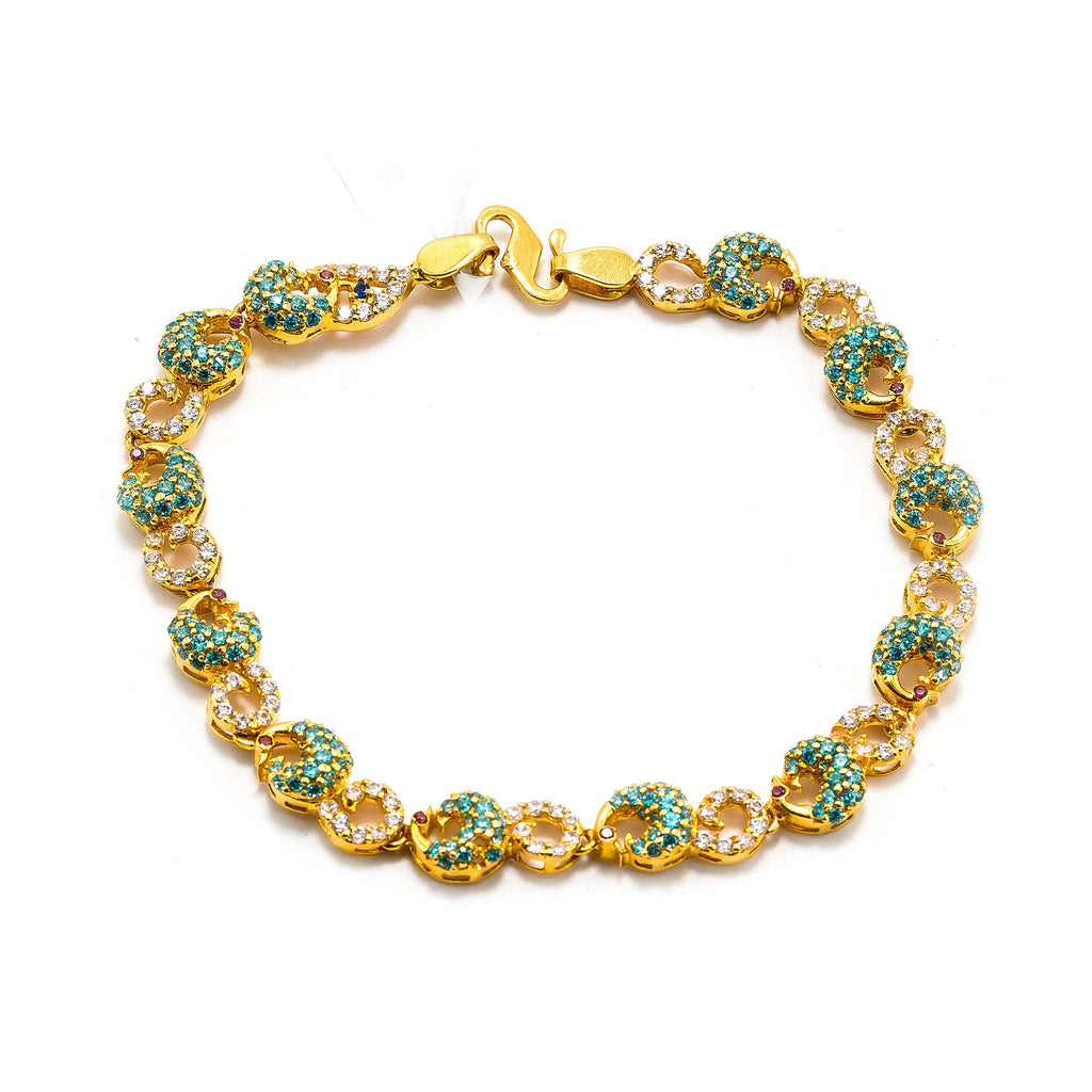 22K Yellow Gold Bracelet W/ Multi Colored CZ Gems & Curled Peacock Accents |  22K Yellow Gold Bracelet W/ Multi Colored CZ Gems & Curled Peacock Accents for women. This r...