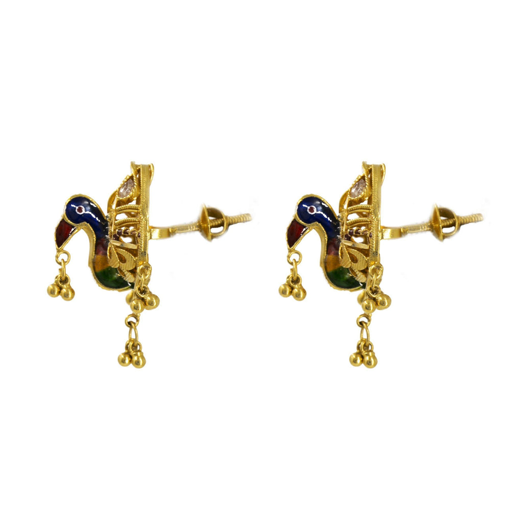 22K Gold Earrings W/ Peacock meenakari Design | Length 1 In. Width 15 mm.