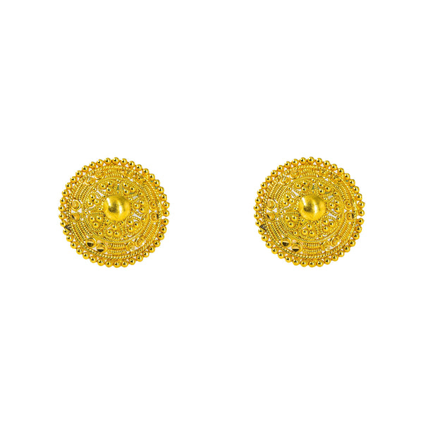 22K Yellow Gold Stud Earrings W/ Handcrafted Beaded Circle Shield Frame |  22K Yellow Gold Stud Earrings W/ Handcrafted Beaded Circle Shield Frame for women. These ornate ...