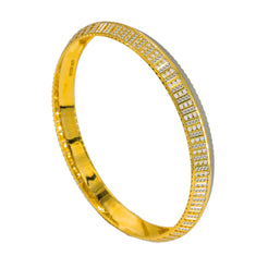 22K Multi Tone Gold Kada Bangle for Men W/ Circle Laser Details & Split Textured Frame