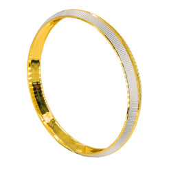 22K Multi Tone Gold Kada Bangle for Men W/ Etched Square Designs & Diamond Cutting Details