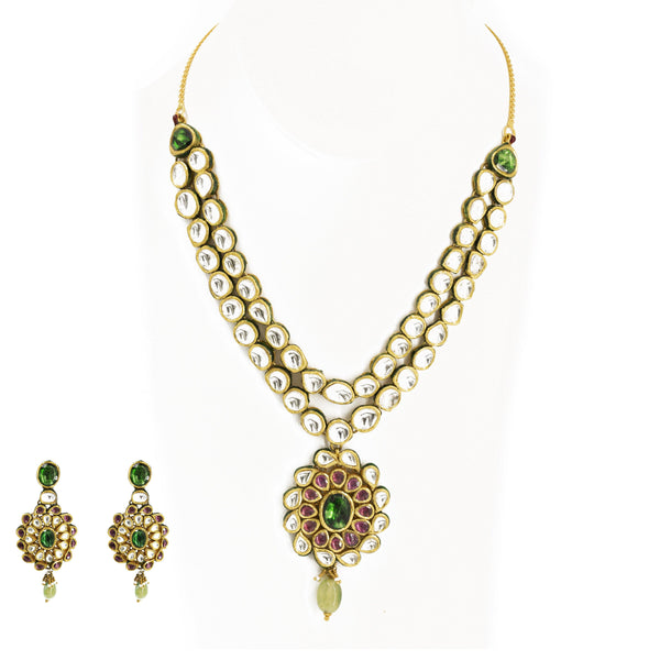 22K Gold Necklace & Earrings Set W/ Kundan | Necklace Length 20 In. Necklace Minimum Width 2 mm. Necklace Maximum Width 16 mm. Pendant Length ...