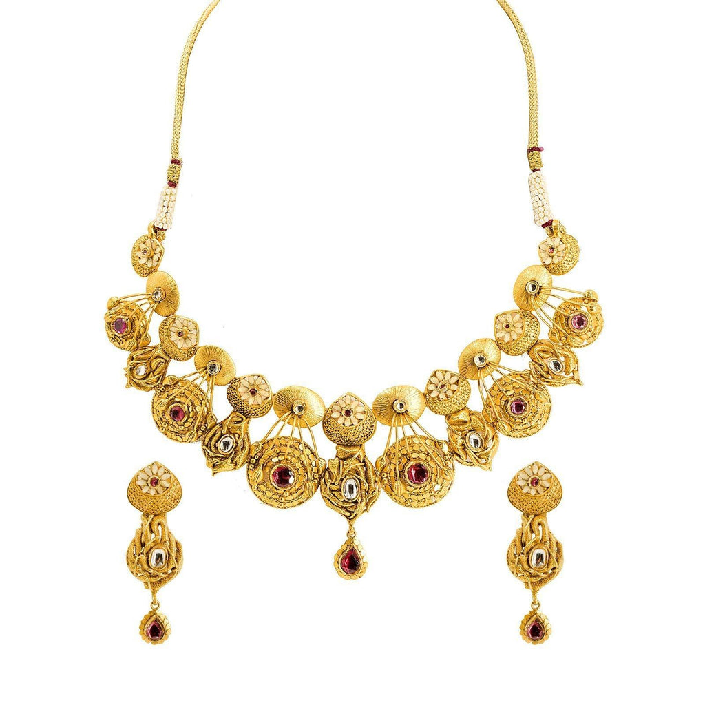22K Yellow Gold Antique Bridal Set W/ Kundan & Double Row Ornate Collar Necklace |  22K Yellow Gold Antique Bridal Set W/ Kundan & Double Row Ornate Collar Necklace for women. ...